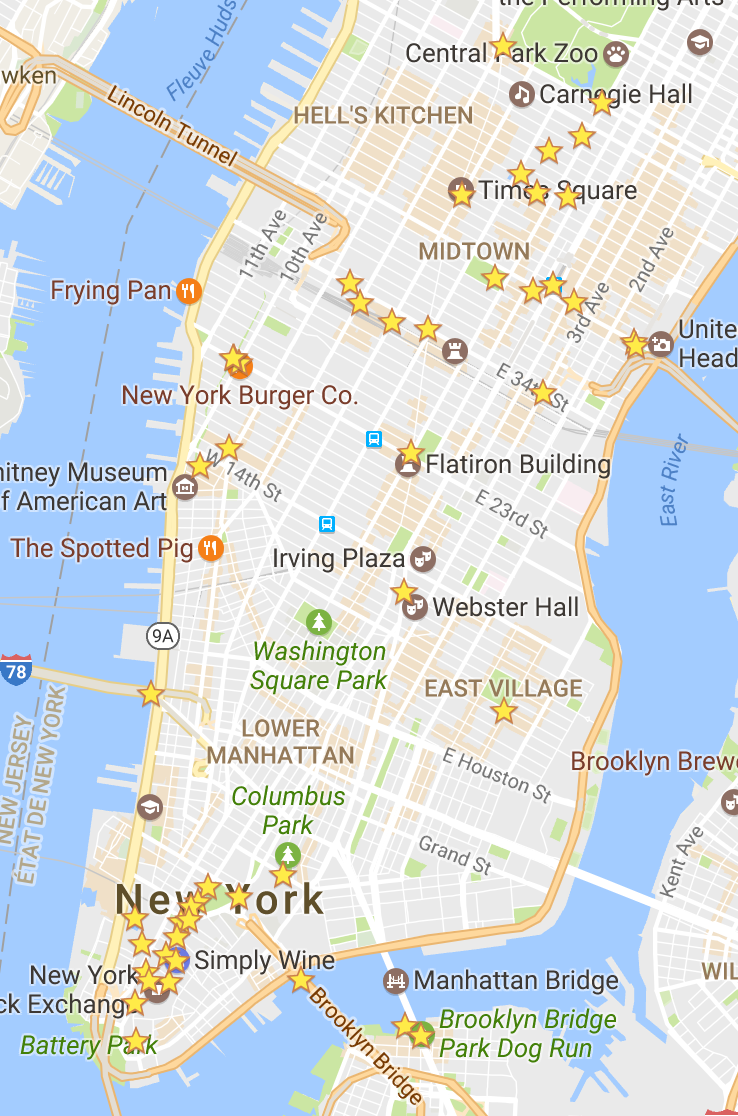 Desert in New York Locations map